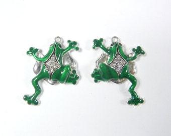 Pair of Green Frog Charms Rhinestones
