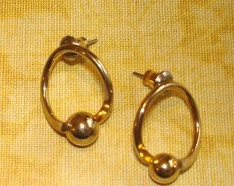 vintage gold ball and hoop pierced earrings
