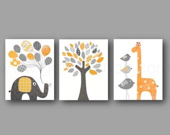 Orange and gray Kids Room Decor elephant balloon giraffe bird Tree Home Decor Gender Nursery - Set of three prints