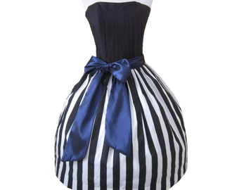 Summer Sale  Gothic Tim Burton Inspired Dress Striped Black and White--- Custom in your size French Chic Doll Inspired Womens with blue sash