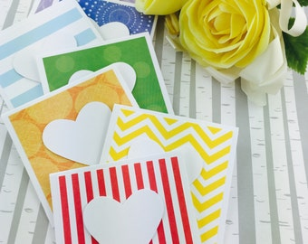 Mini Heart Cards Rainbow Collection Set of 9