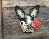 Boston Terrier, day of the dead, wall hanging, ceramic head