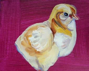 Chicken Painting, Baby Chicken, Yellow baby chick, Peeps, colorful chicken painting