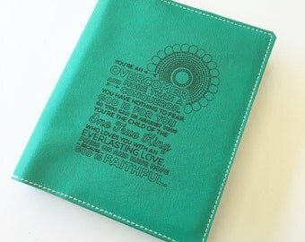 Personalized Leather Bible cover - Overcomer - Custom Made to fit your Bible