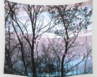 LIGHTS in The Woods Wall Tapestry, Trees Tapestry, Night Sky Home Decor, Nature Tapestry, Home Decor,Whimsical Tree Branches,Woodland, Magic