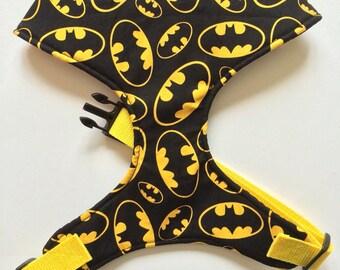 Pug Dog harness - Batman, Custom Made Soft Dog Harness