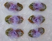 6 pc Flower Applique Green Velvet Leaf lavender Magenta Organza Ribbon Baby Dog Bow Bridal Applique