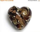 ON SALE 50% OFF Dark Amethyst w/Silver Foil Heart Focal Bead - Handmade Glass Lampwork Bead 11814005