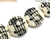 ON SALE 40% OFF New! 10306212 Four Musical Notes Lentil Beads - Handmade Glass Lampwork Bead Set