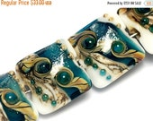 ON SALE 30% OFF Glass Lampwork Bead Set - Four Teal Stardust Pillow Beads 10410914