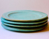 Hand Thrown Ceramic Plates in Cerulean Blue Stoneware Good for Salad, Lunch or Dessert