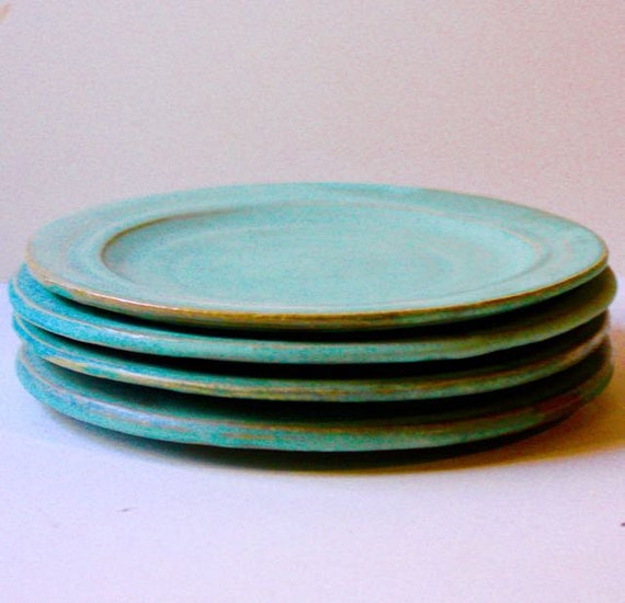 Hand Thrown Ceramic Plates In Cerulean Blue Stoneware Good For