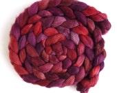 Polwarth/Silk Roving - Handpainted Spinning or Felting Fiber, Red Wine