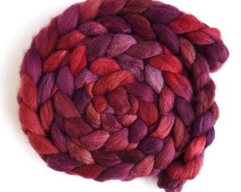 Polwarth/Silk Roving - Handpainted Spinning or Felting Fiber, Red Wine
