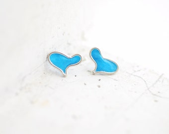 Electric Sky Blue Heart Post Stud Earrings Sterling Silver, 1st Anniversary Gift Paper Jewelry Best Friend Relationship Long Distance Cute