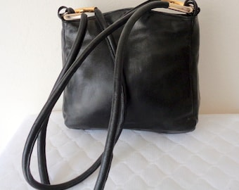 Vanessa Thick butter soft black genuine leather  dual strap hobo satchel , bucket bag, work bag vintage very clean