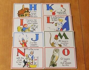 Vintage Alphabet Flashcard Flashcards Letter Flashcards 22 Letters