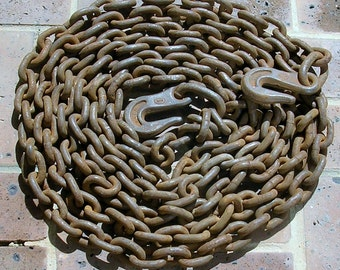 Vintage Rusty Chain Vintage Rusted Chain 19 Feet of Chain With Iron Hooks Vintage Tow Chain Nautical Chain