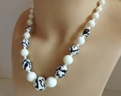 Valentines Day Sale Vintage black and white necklace art glass beads beaded necklace art glass necklace graduated milk glass bead necklace s