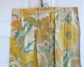 Pair Vintage Curtains Drapes Aqua Blue Flowers Yellow Girl Fabric Linens Mod Retro Sixties
