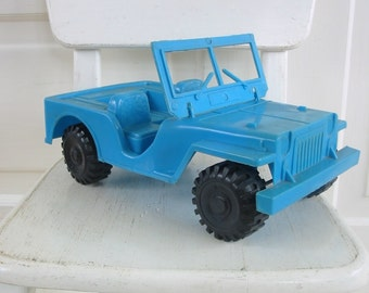 Vintage Toy Jeep Truck Plastic Aqua Blue Boy Nursery Decor Kid Display