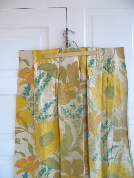 pair vintage curtains drapes aqua blue flowers yellow girl
