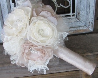 Fabric Bouquet, Silk Flower Wedding Bouquet, Fabric Brooch Bouquet bridal rhinestone and pearl brooches,champagne and  ivory