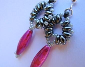 Superduo Earrings, Hematite Grey Earrings, Hematite Gray and Mottled Pink Superduo Earrings,  Beaded Earrings, Superduo Earrings