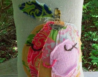 Raggy Applique Peach SMALL Pillow Ready to Ship YelliKelli