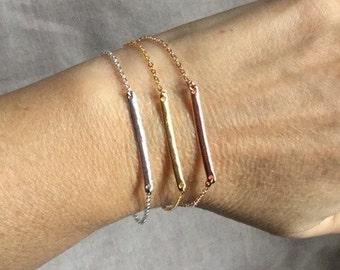Modern Rose gold bracelet, minimalist bar pendant bracelet, bar charm bracelet, minimalist