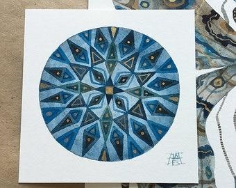 Mandala SET 3 , original miniature small watercolor paintings