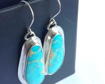 Kingman Turquoise Hand Stamped Earrings - Hand Stamped Turquoise Jewelry - Modern Bohemian Jewelry -