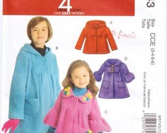 Pattern McCall's 5743 Children's Jacket - Coat Size 3-6 UNCUT