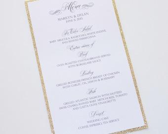 Marilyn Glitter Menu Card - Wedding Menus - Elegant Menu Cards - Wedding Reception Stationery - Gold Glitter White Sample