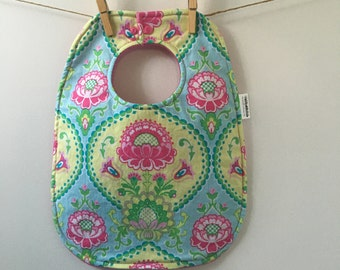Bright Floral Baby Bib - Oversize Baby Bib with Snaps