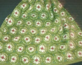 Crochet Kitchen Hanging Towel, Flowers, thyme green top, Pioneer Woman