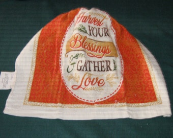One Kitchen Crochet hanging towel Harvest your Blessings, Gather Love, Beige top