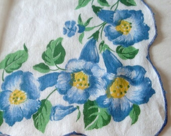 Beautiful Vintage Ladies Handkerchief with Blue Morning Glories, Cotton, Hankie, Hanky, Mid Century, Bride, Wedding, Old  (220-16)