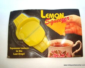 Vintage Lemon or Lime Squeezer, Juicer, Yellow Plastic, Retro Kitchen Gadget, Tool, Made in Hong Kong  (11-16)
