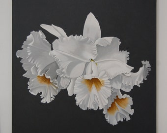 Orchid Painting - White Frilled Orchid Monochromatic Gray Background Botanical Acrylic Painting