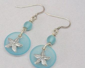 Light Blue Sea Glass Earrings, Sterling Silver Starfish Earrings, Blue Earrings, Nautical Pastel Earrings, Fun Beach  Earrings, Gift for Her