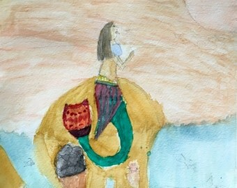 The Praying MermId, Original watercolor on watercolor paper