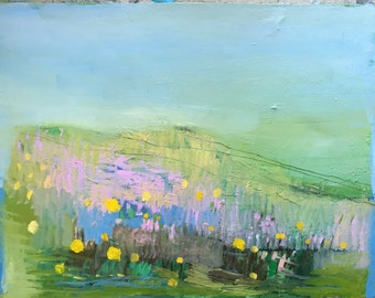Fields with yellow flowers, original oil painting on arches