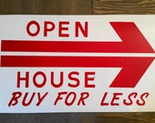Vintage Metal Painted Real Estate Open House Sign, Red and White Painted Metal Arrow Placard