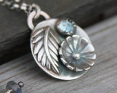 aquamarine flower leaf sterling silver pendant necklace