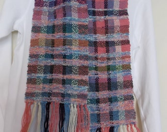 "Soft and Perfect for Summer~a Handwoven Scarf 66.5""x7"" in pinks, blues, greens and lavender"