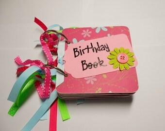 Pink and Aqua Birthday Book, Birthday reminder book, Birthday calendar, birthday list, mini birthday book, chipboard calendar