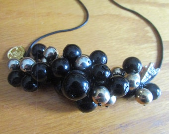 black charm bead necklace