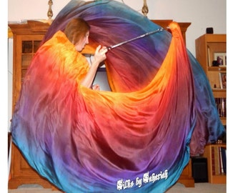 Sahariah's Silk Belly Dance Veil Killer Tornado Poi Voi Set 2 5mm Poi Veils and Set of Poi Chains