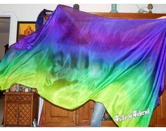"Sahariah's Silk Belly Dance Veil Rectangle original ""Killer Silk"" 3 Yard Rectangle Veil Tribal Markings"